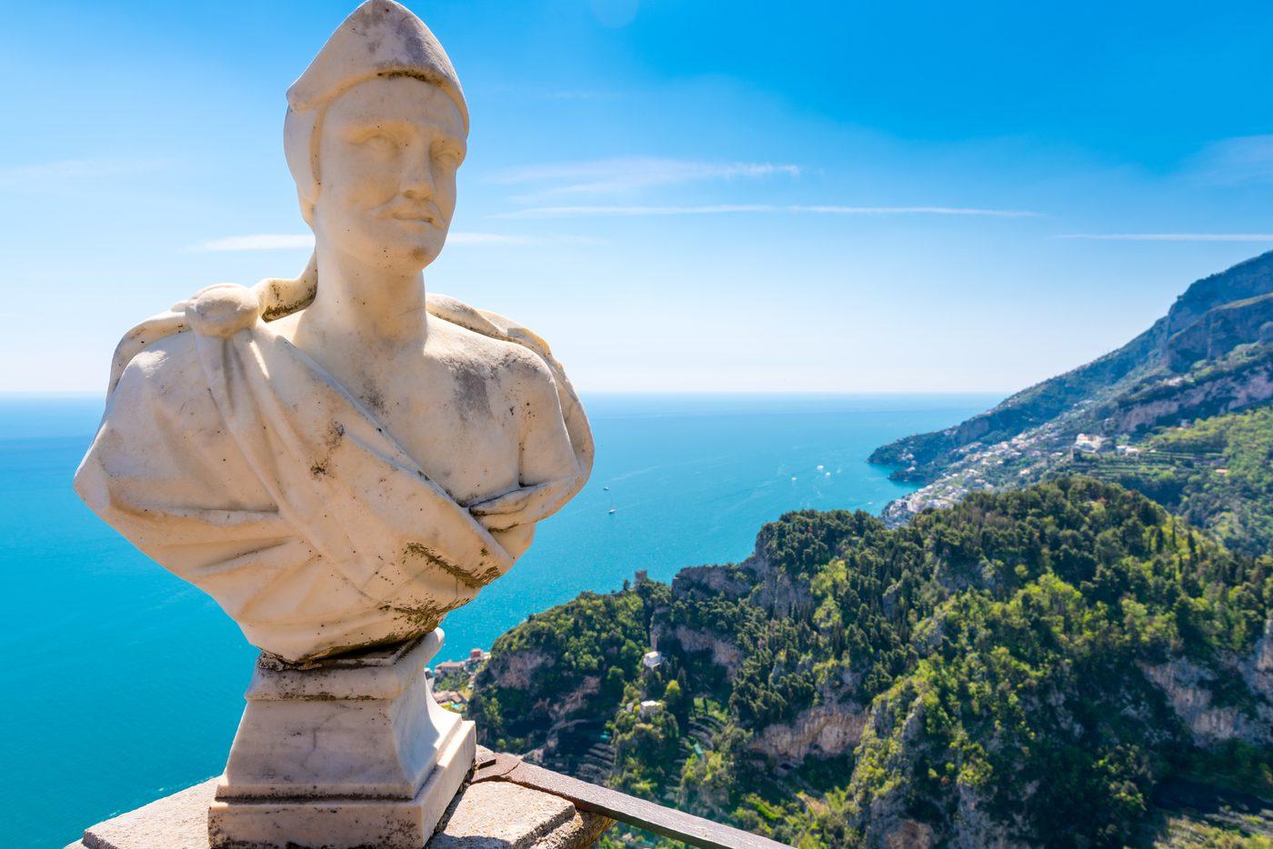 Statue of Augustus Caesar overlooking the coast of island c