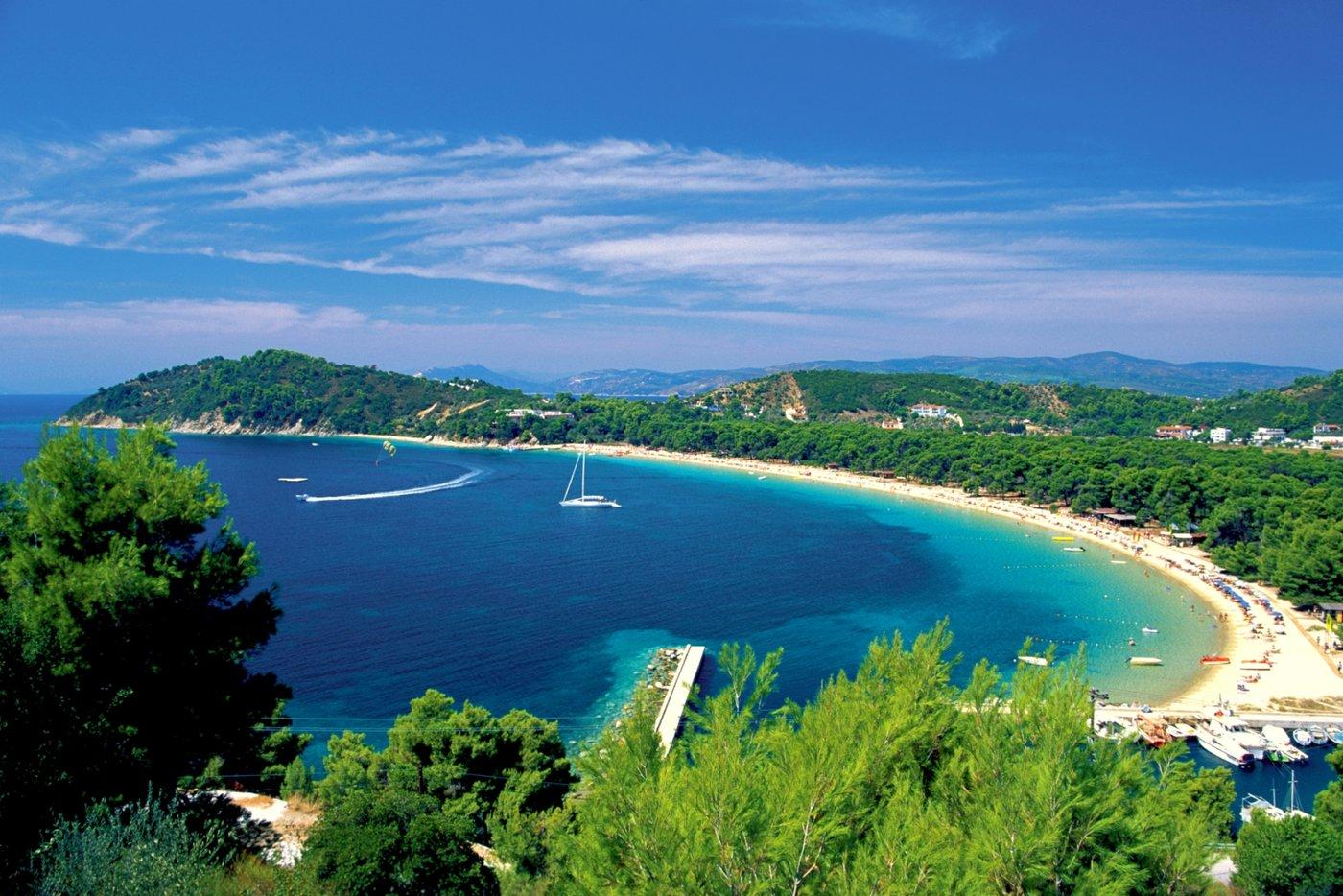 Views from Hydra's hilltop Profítis Ilías in Greece