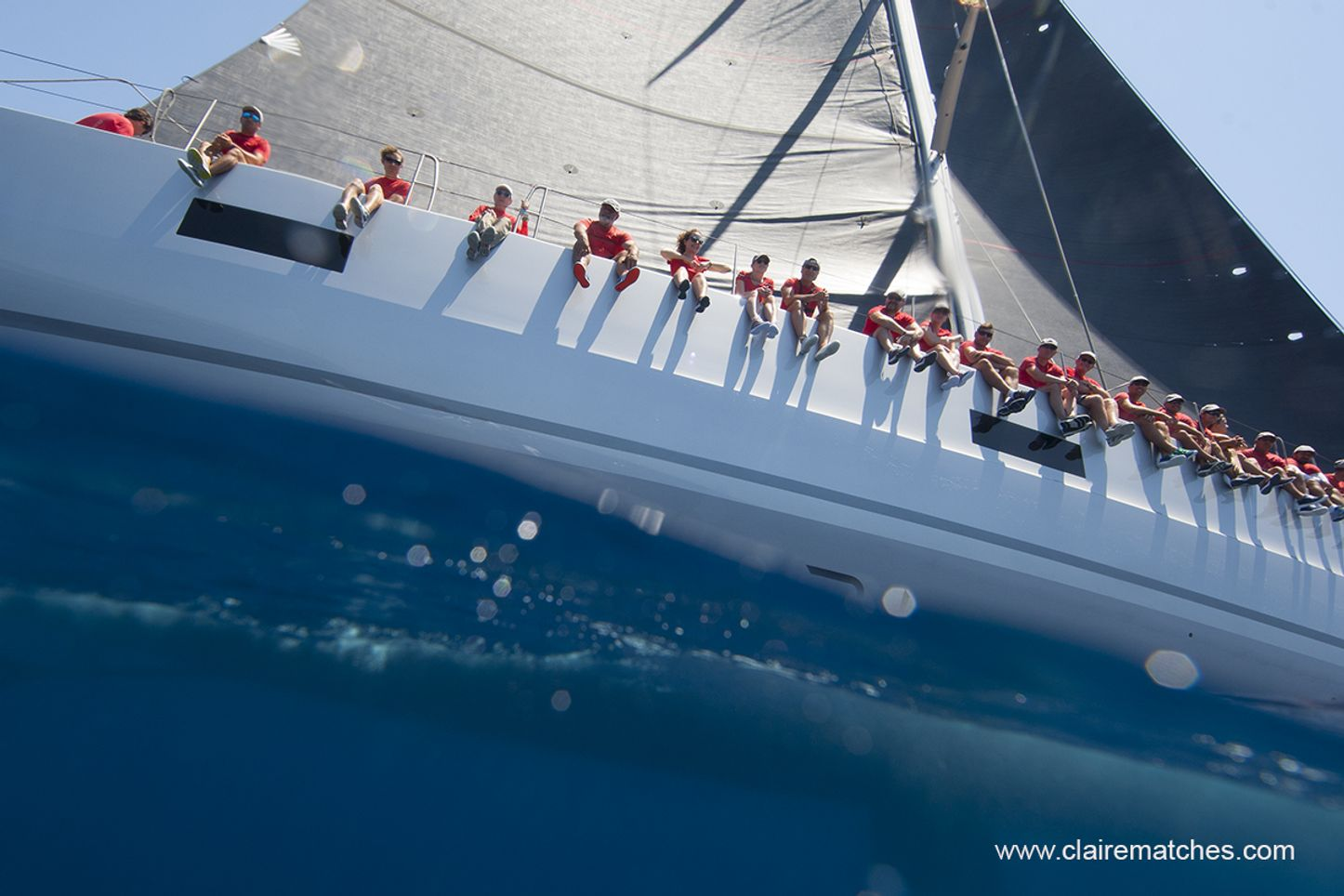close up of crew on board a competing yacht at the Palma Superyacht Cup