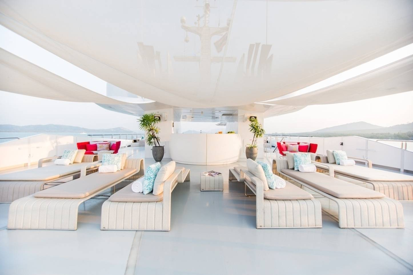 sumptuous seating on the sundeck of motor yacht SALUZI