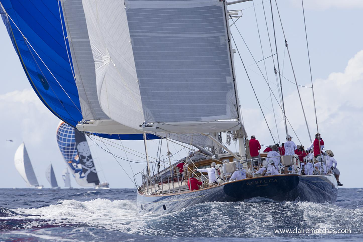 fleet of sailing yachts underway at the Superyacht Challenge Antigua with sailing yacht  REBECCA