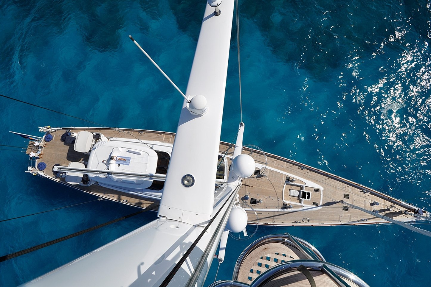 bird's eye view of sailing yacht HYPERION when on a Caribbean yacht charter