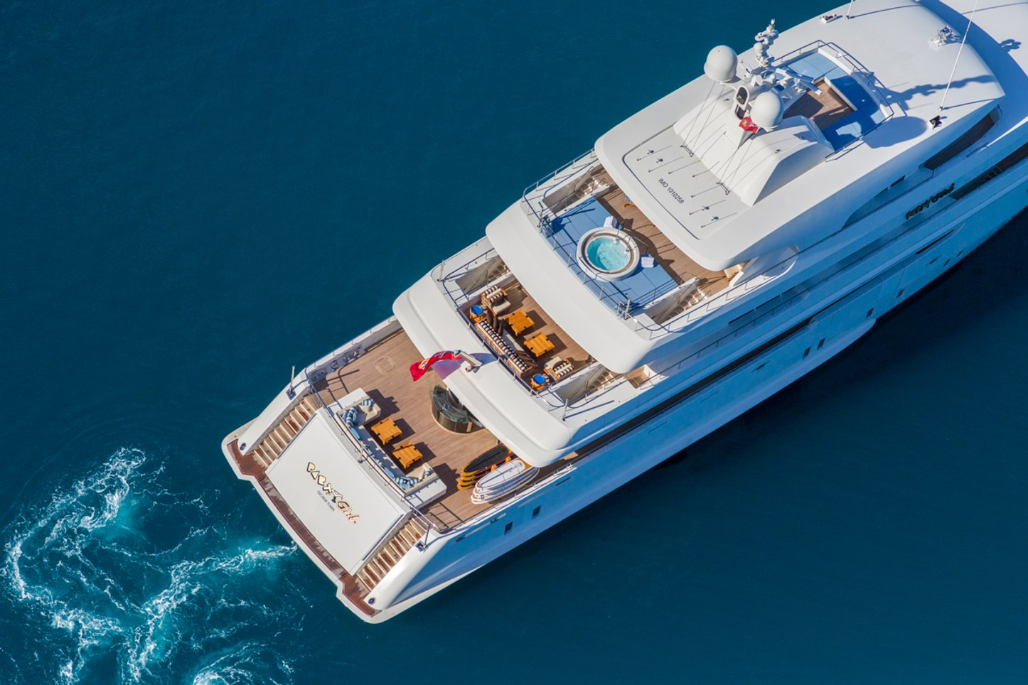 aerial view of luxury yacht Party Girl