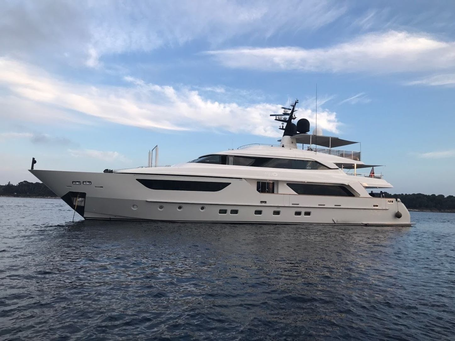 motor yacht AWOL anchored in the Mediterranean on a luxury charter vacation