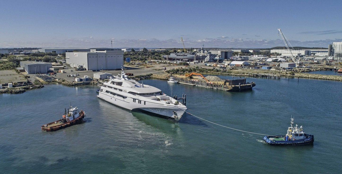 luxury tri-hulled superyacht White Rabbit launching from Echo Yachts shipyard