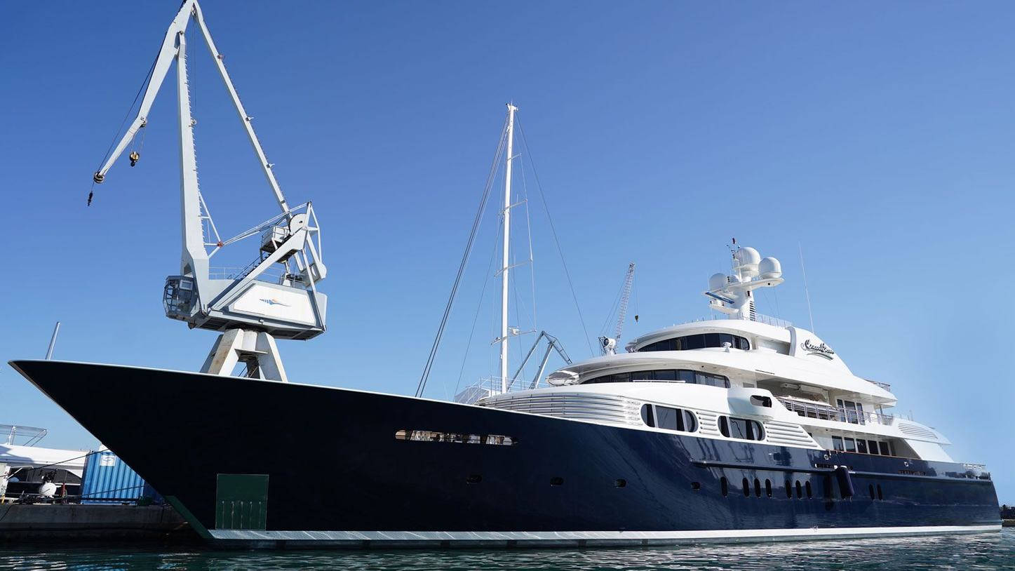 Superyacht Cocoa Bean undergoing refit in Mallorca