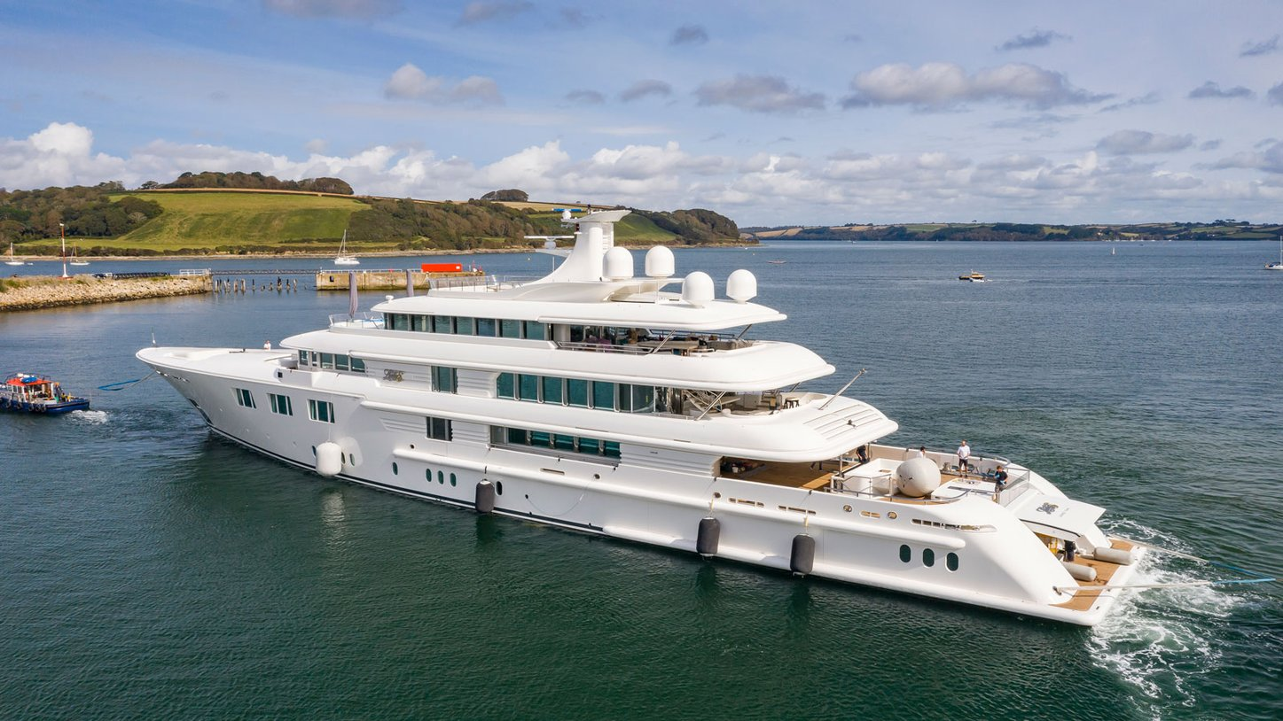 Lady E superyacht on water after refit and extension