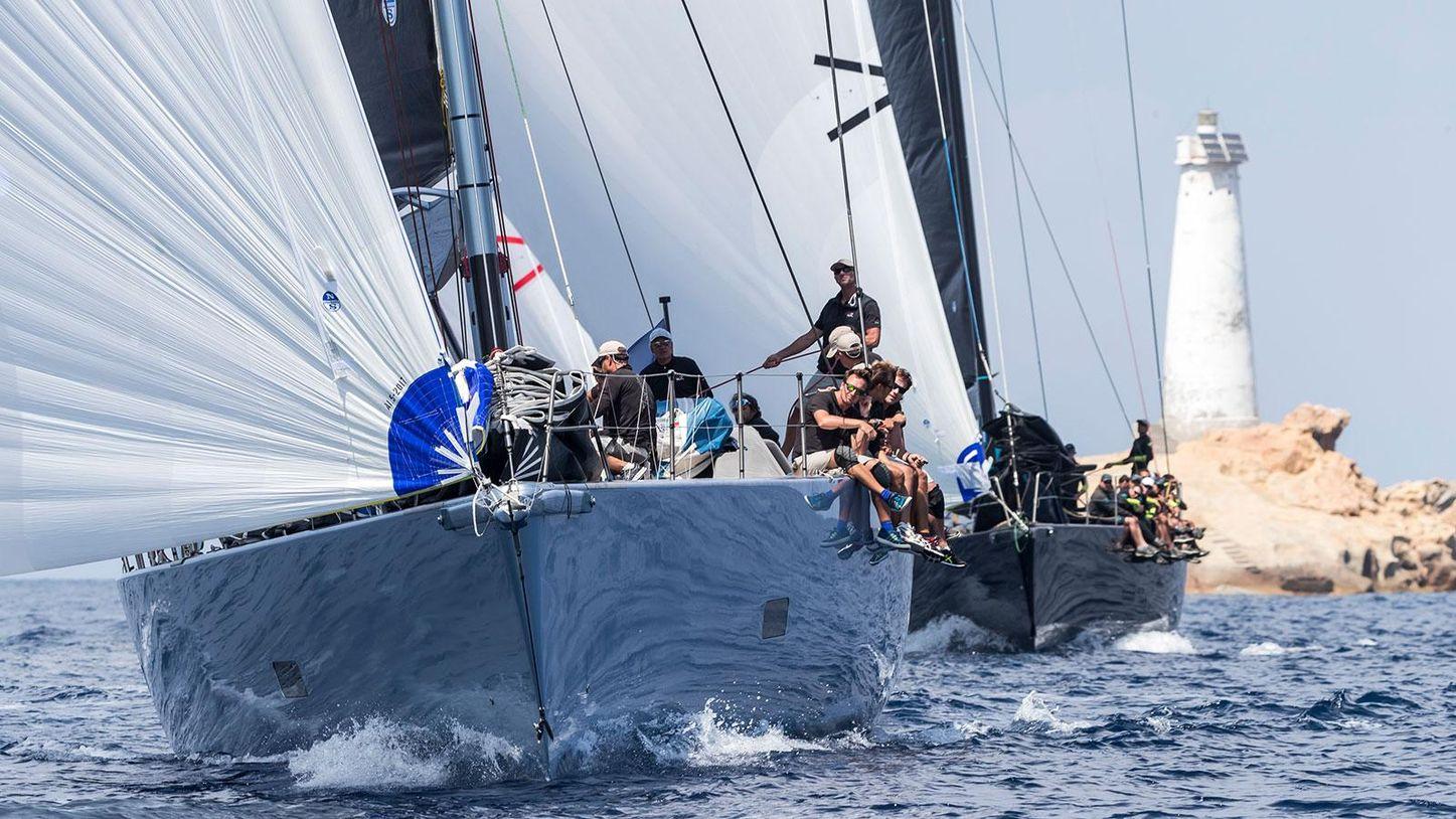 yachts go head to head at the Loro Piana Superyacht Regatta in La Maddalena archipelago, Sardinia