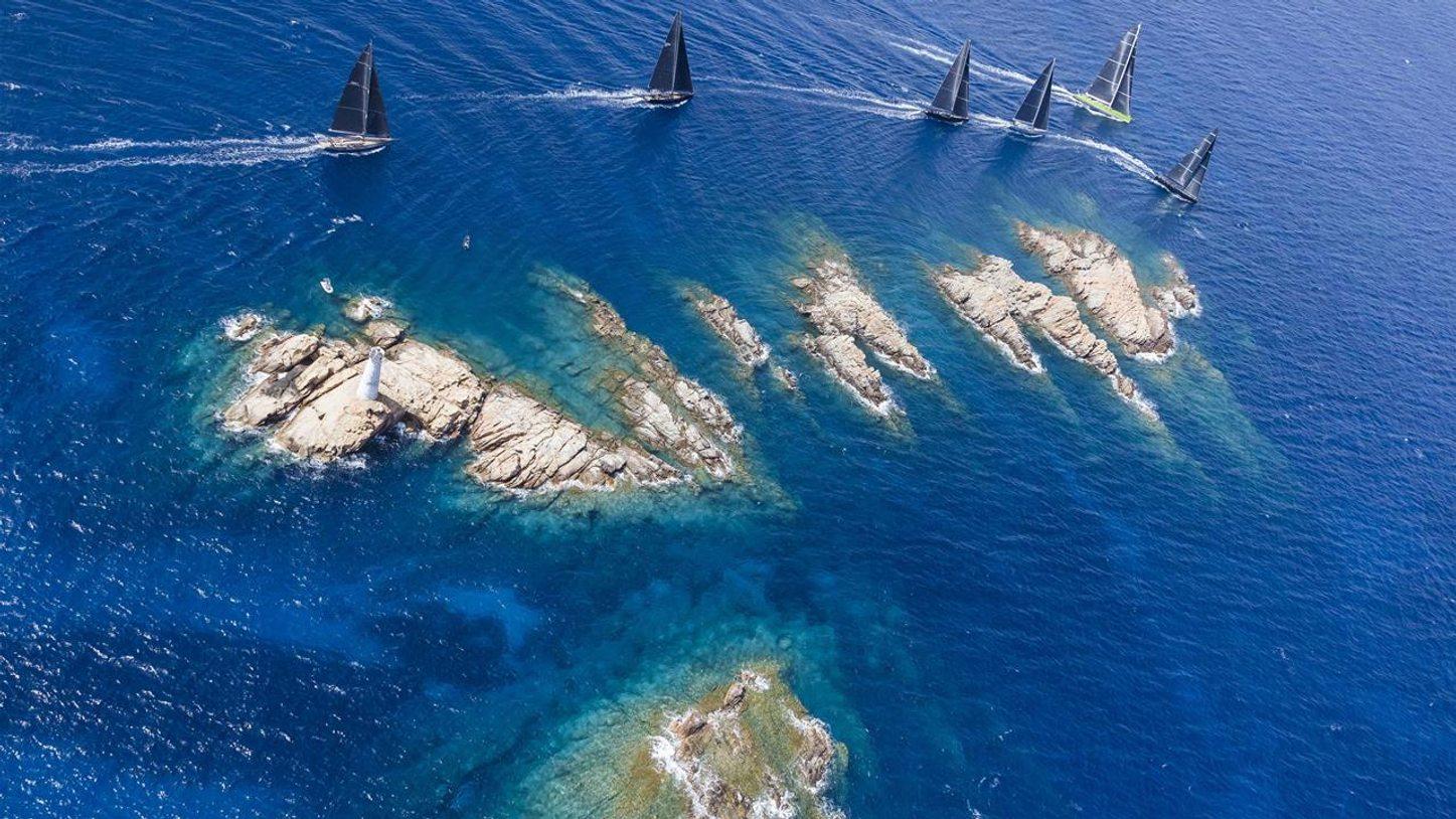 Aerial view of super yachts at Loro Piana Superyacht Regatta in Sardinia, Italy