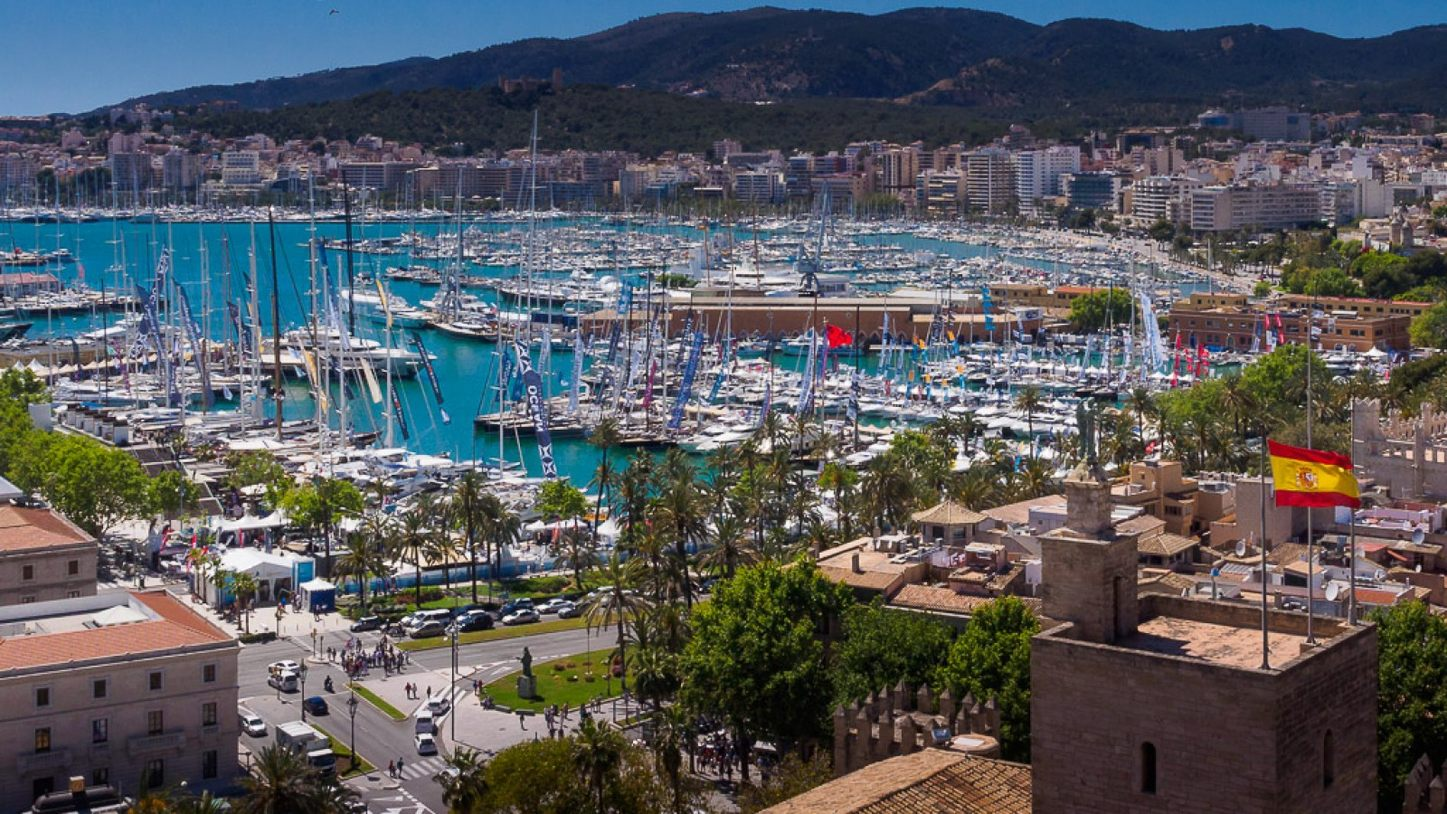 yachts lined up in Palma, Mallorca, for the Palma Superyacht Show