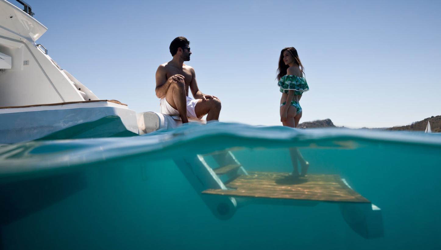 swim platform of charter motor yacht hanaa