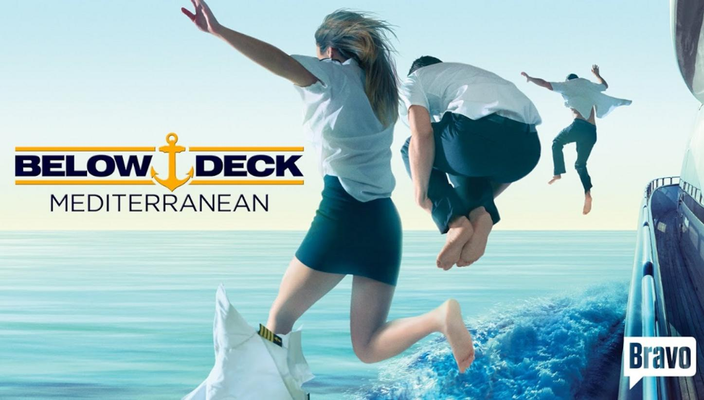 crew jump off superyacht in promotional image for Below Deck Mediterranean