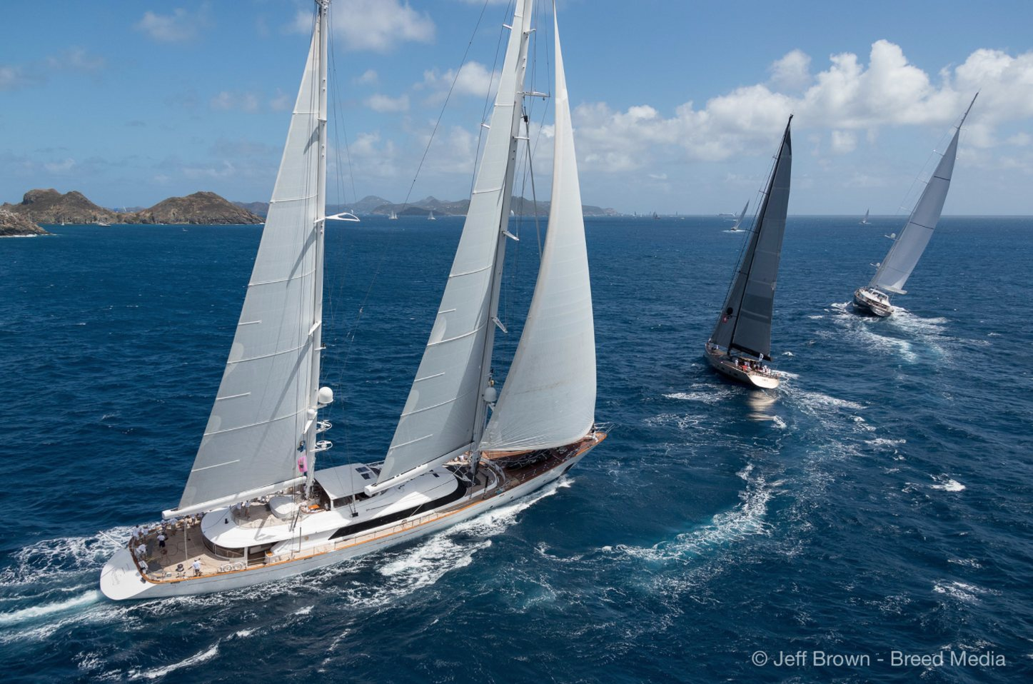 Superyacht Rosehearty in action at the St Barths Bucket Regatta