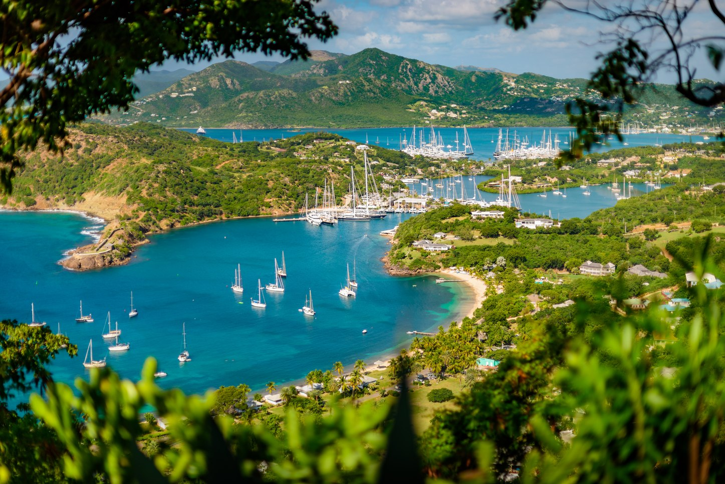 English harbour panorama seen from shirley heights in Antigua during Antigua Charter Yacht Show