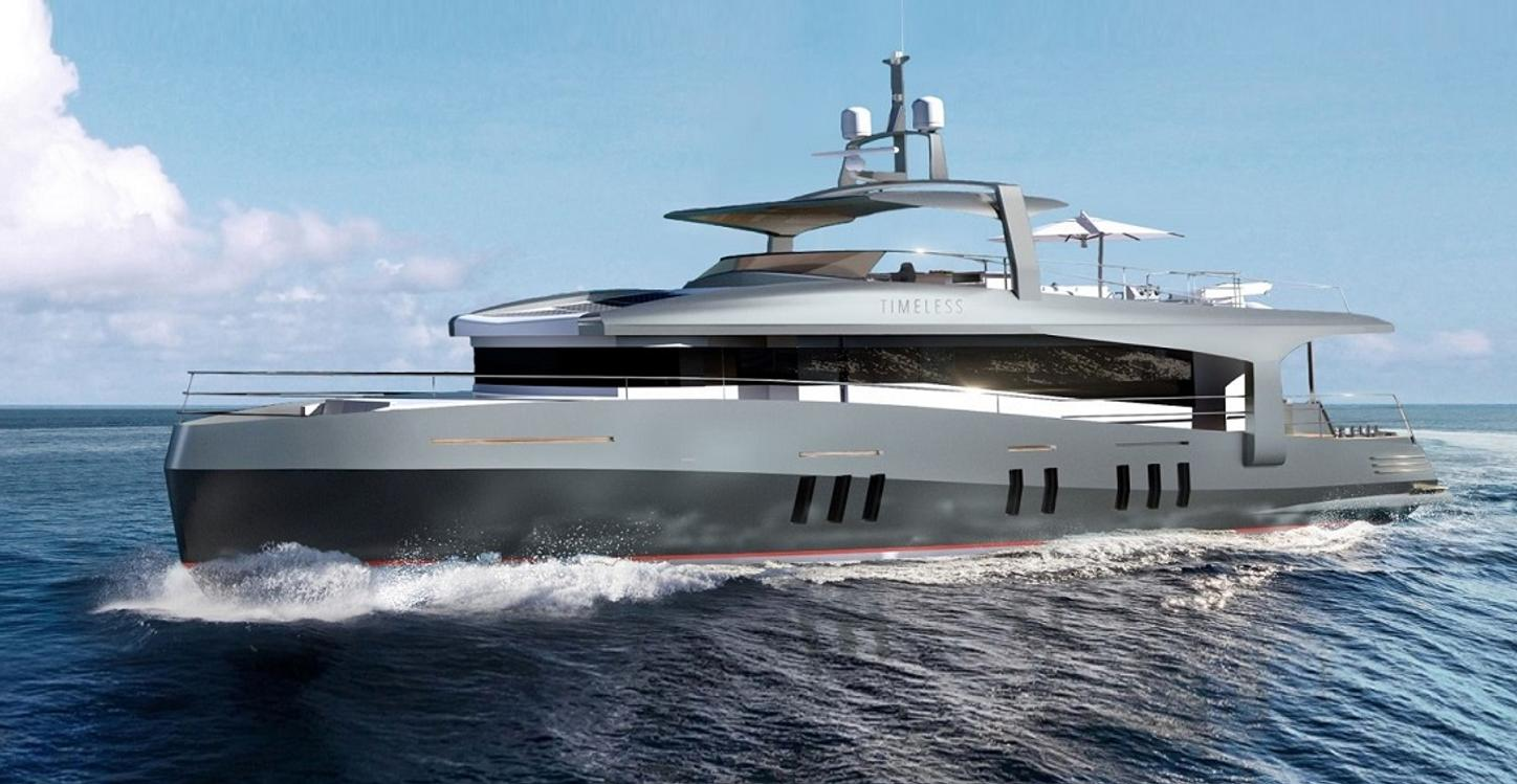 motor yacht TIMELESS underway during a Mediterranean yacht charter vacation