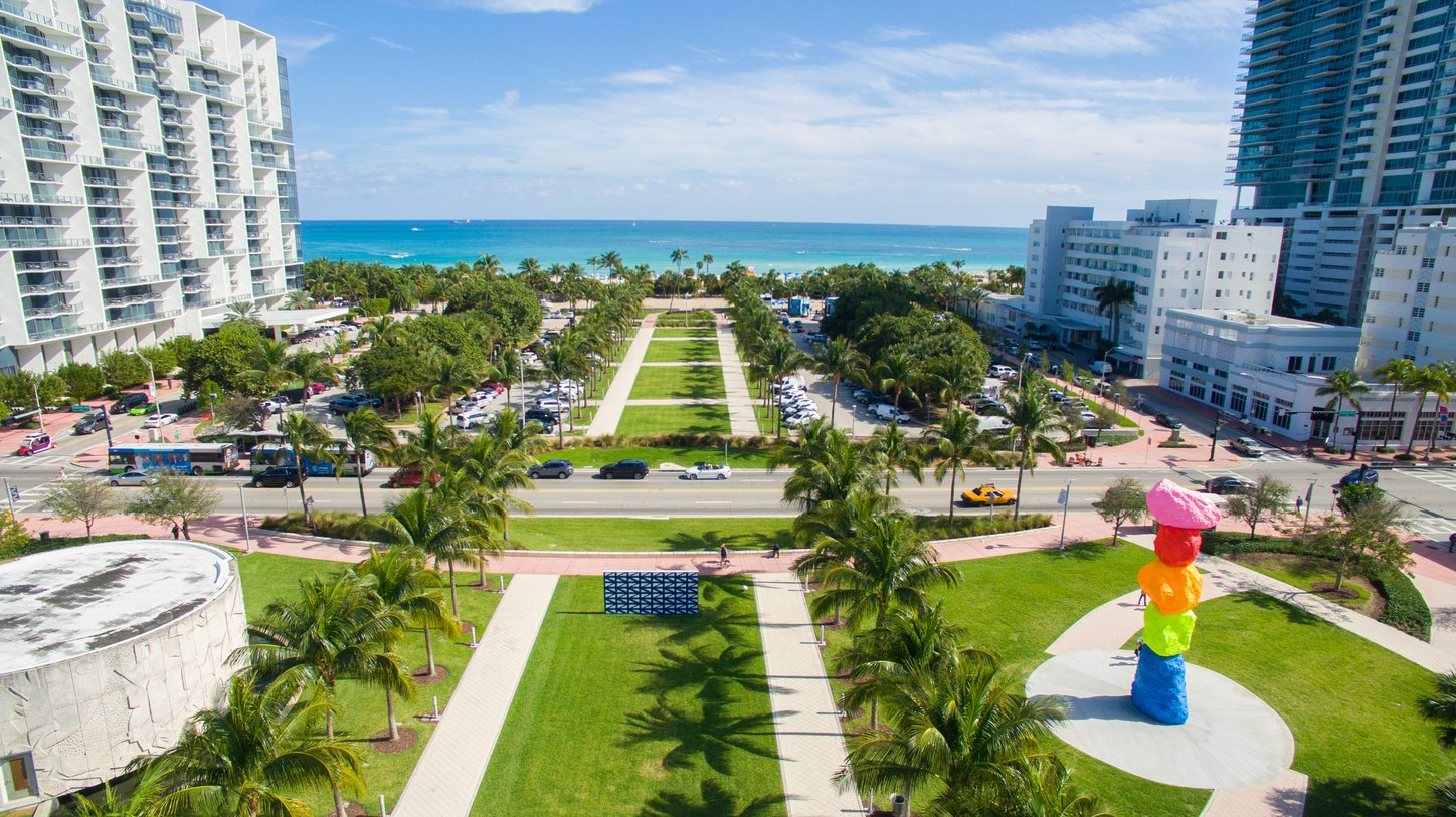 art installations in Collins Park, South Beach, for Art Basel Miami