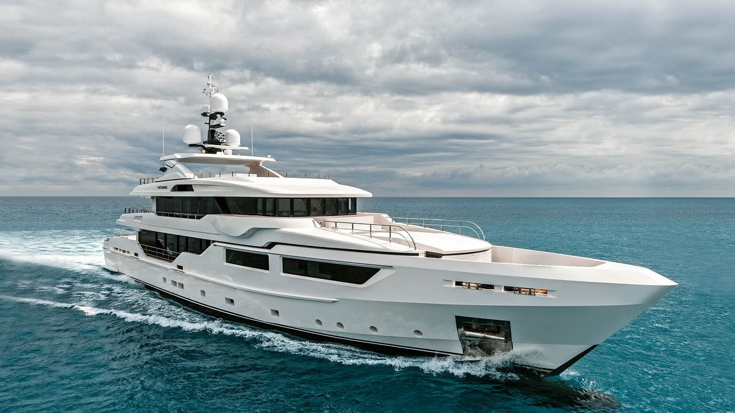superyacht ENTOURAGE cuts through the waters on a Mediterranean yacht charter