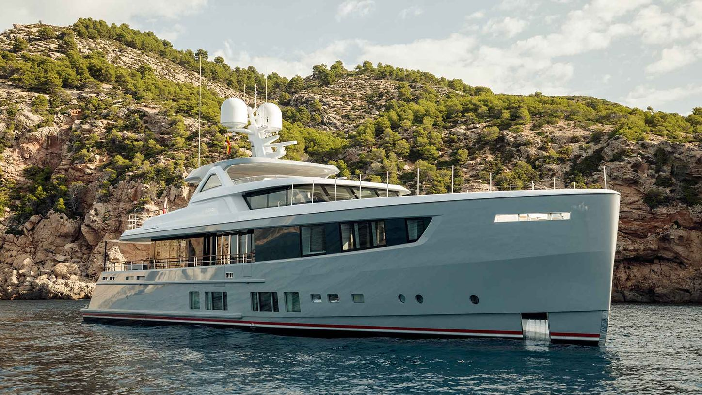 superyacht CALYPSO anchors on a luxury yacht charter in the Mediterranean