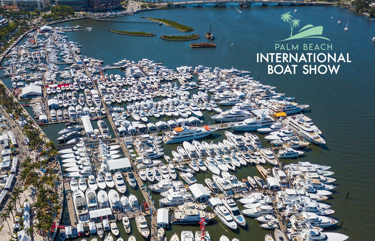 Aerial shot of Palm Beach International Boat Show