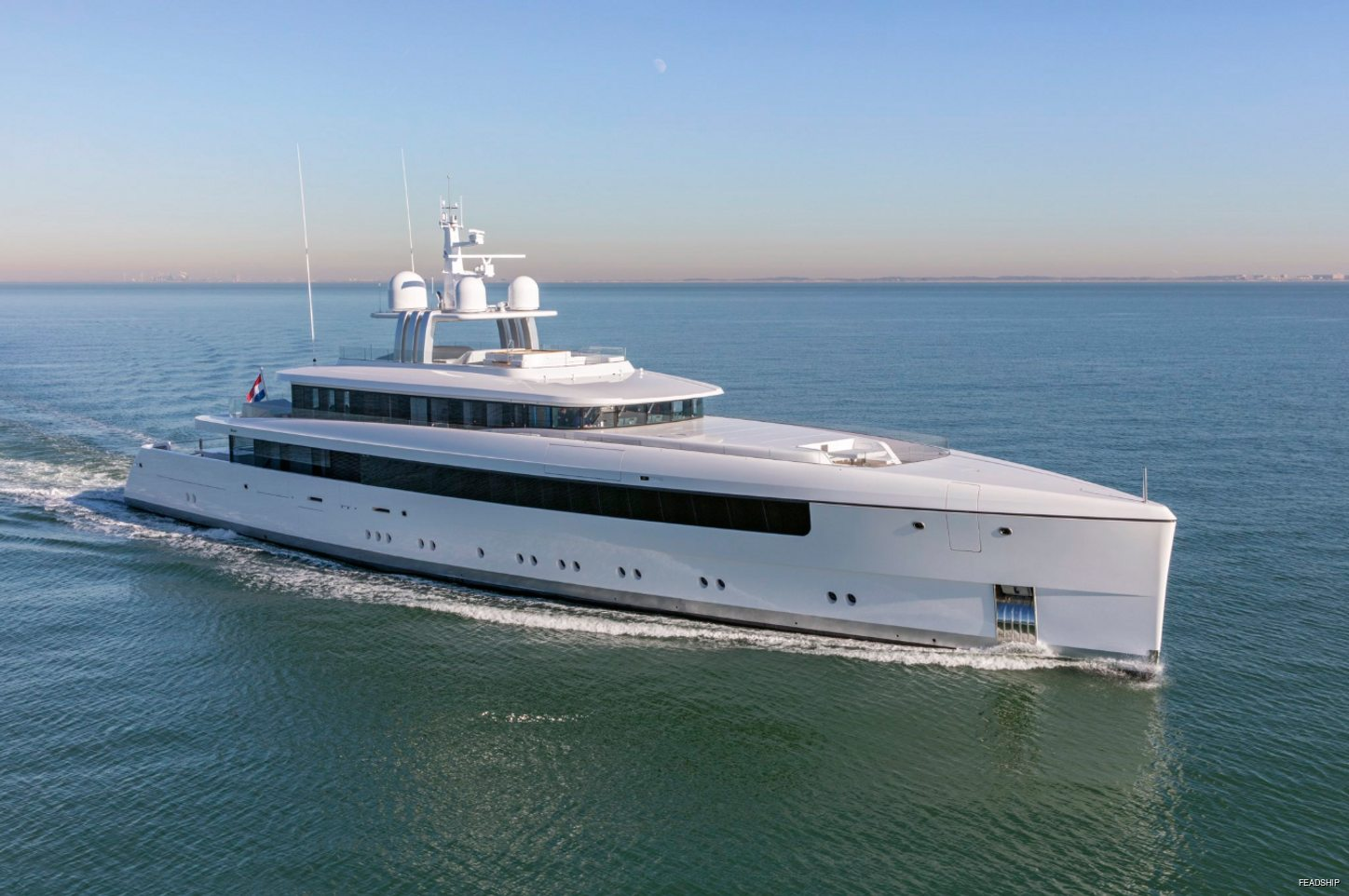 Feadship superyacht NAJIBA underway in the North Sea during sea trials