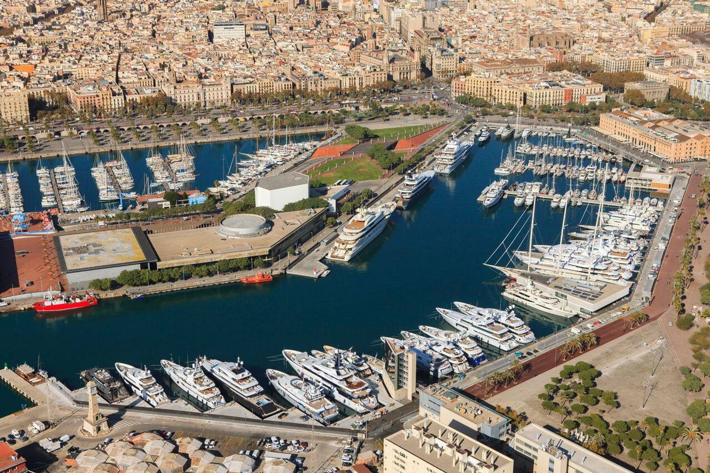 aerial view of OneOcean Port Vell in Barcelona, host of The Superyacht Show 2018
