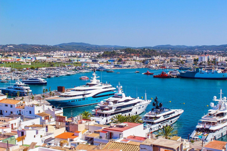 Luxury motor yachts at marina in Spain, Ibiza