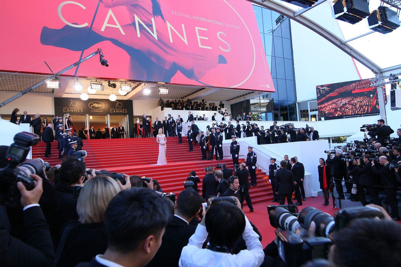 Uma Thurman on the steps on the Palais des Festivals at the Cannes Film Festival