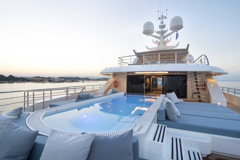 swimming pool on flybridge aft of superyacht O'PTASIA