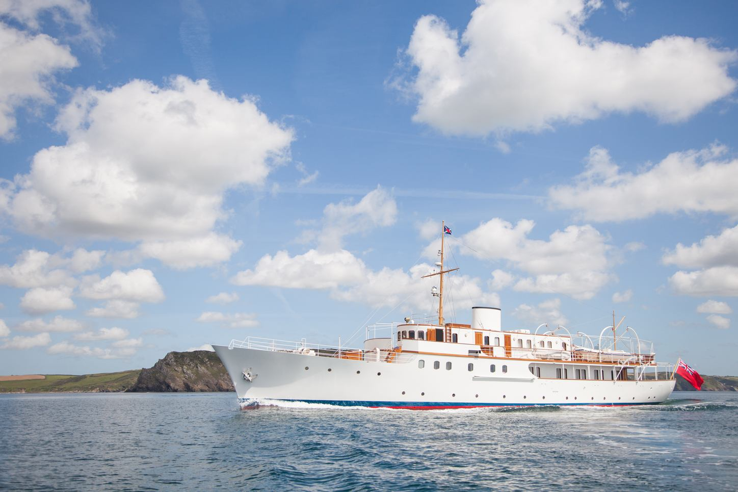 A view of the fresh white port side of superyacht MALAHNE