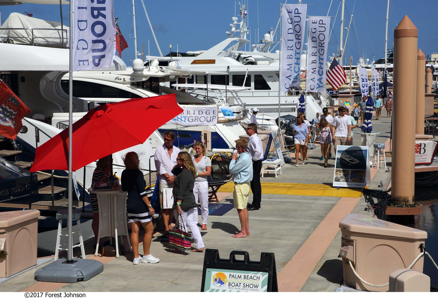 busy boardwalks at the Palm Beach Boat Show