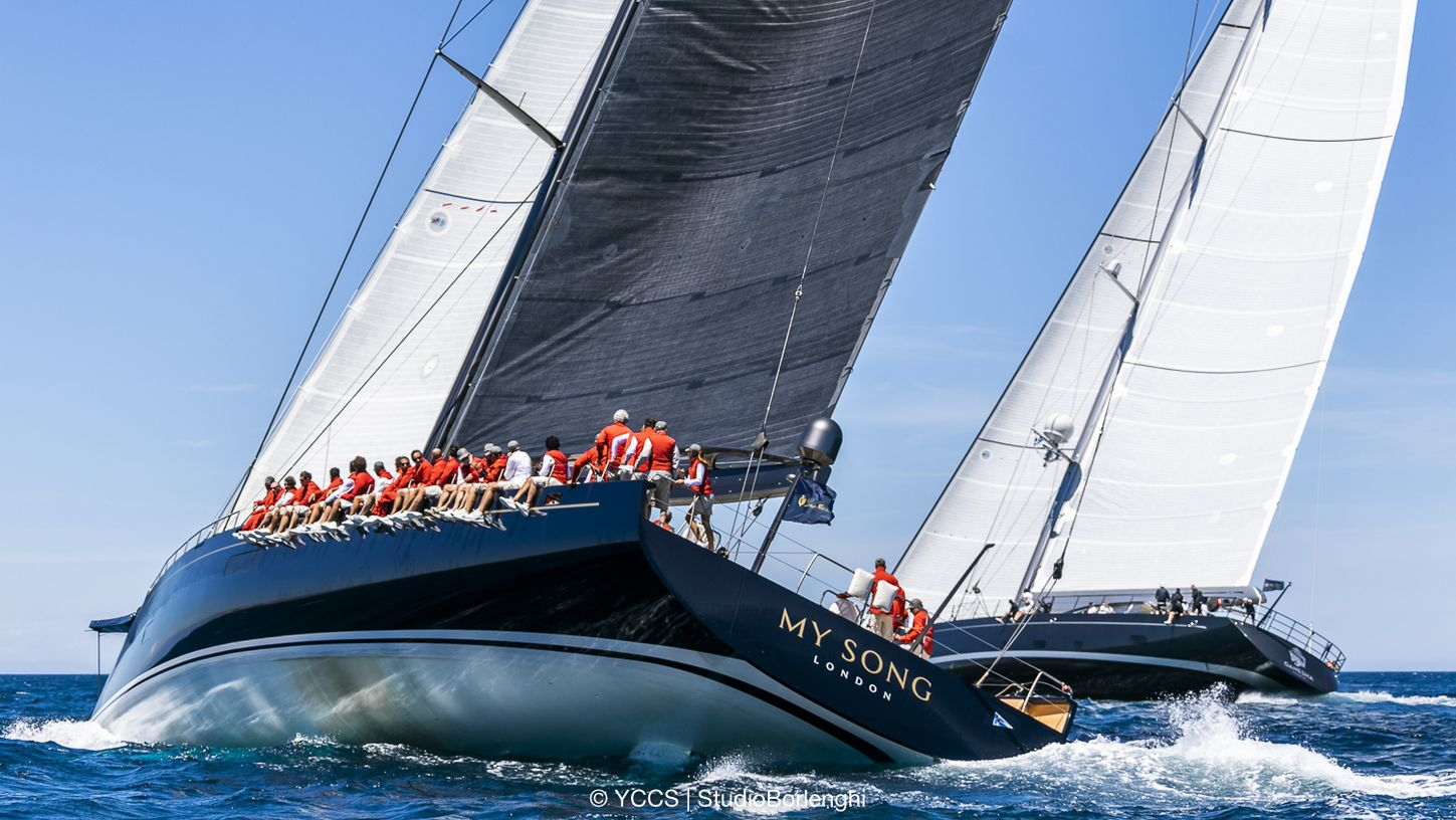 sailing yacht 'My Song' and charter yacht GANESHA sail side-by-side at the Loro Piana Superyacht Regatta 2018