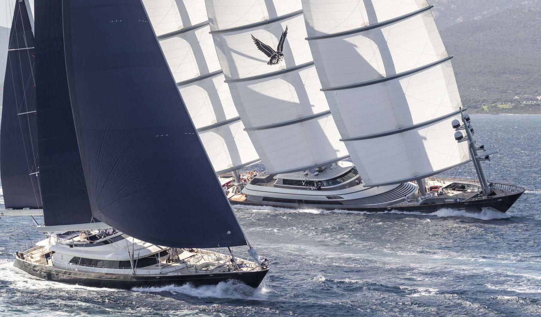 superyacht Maltese Falcon in action during the Perini Navi Cup 2018 in Porto Cervo, Sardinia
