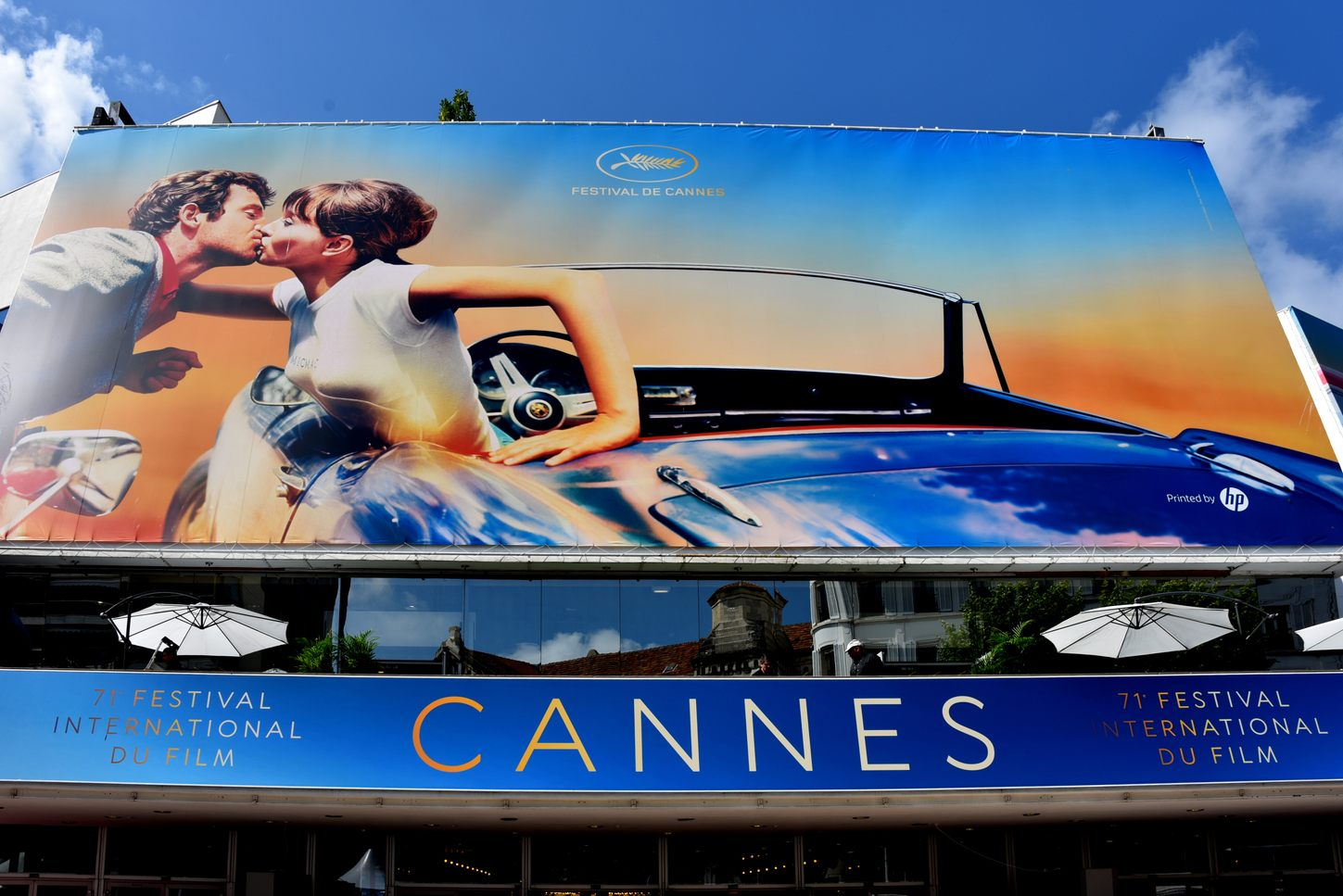 poster for the Cannes Film Festival 2018 above the entrance to the Palais des Festivals