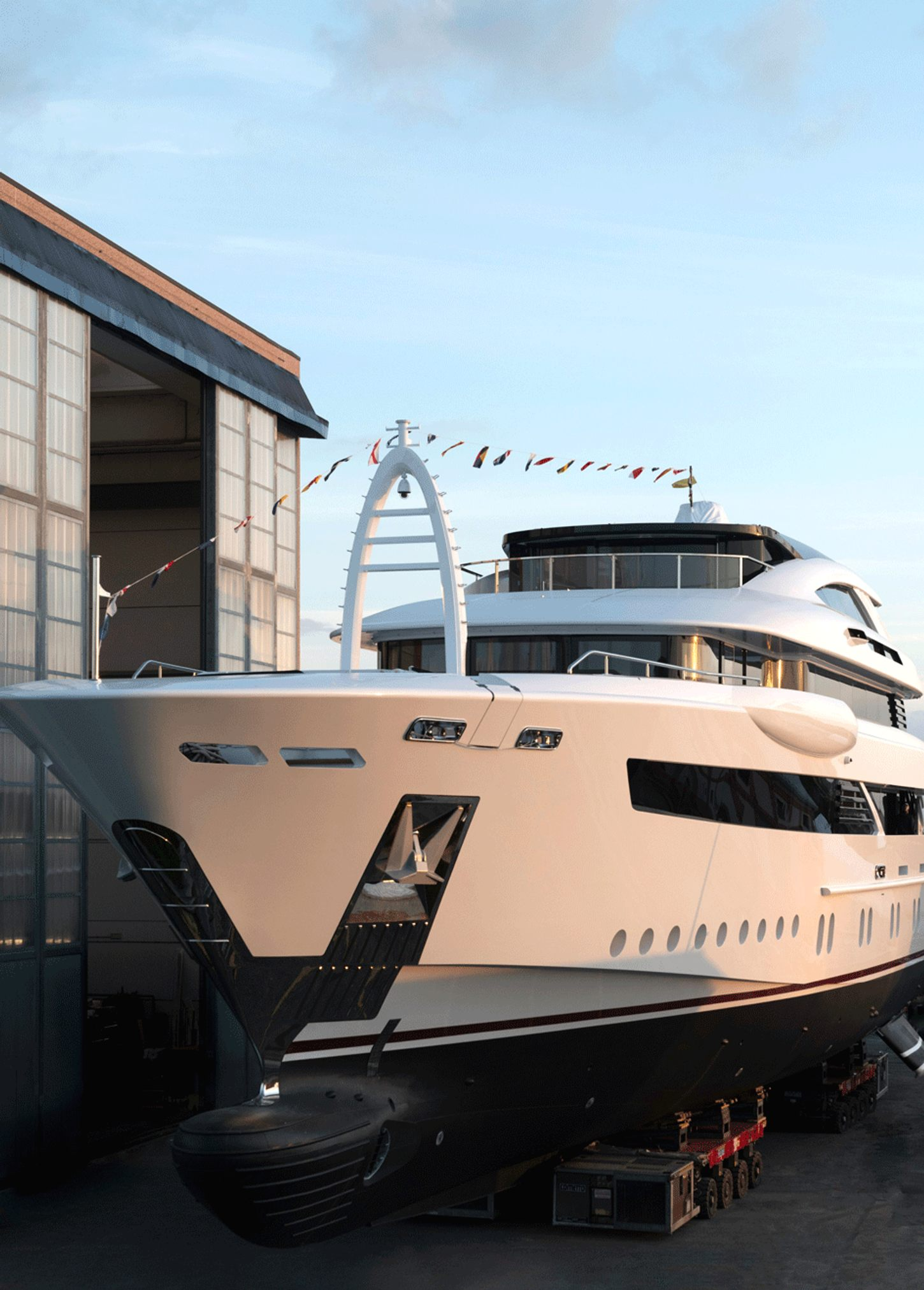 florentia yacht leaves construction shed of rossinavi