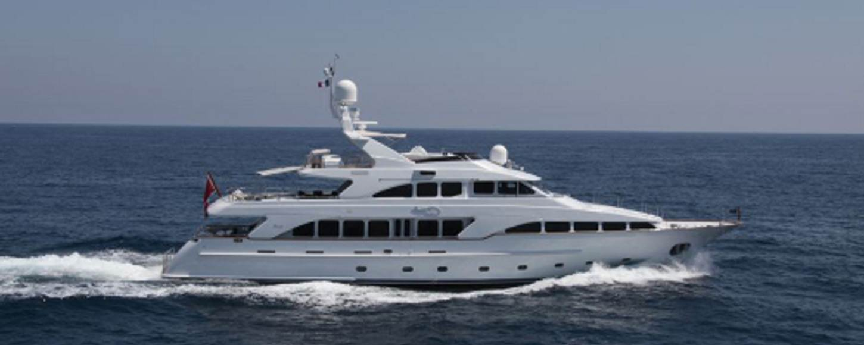 Motor yacht Aminah cruising in Sardinia on a yacht charter