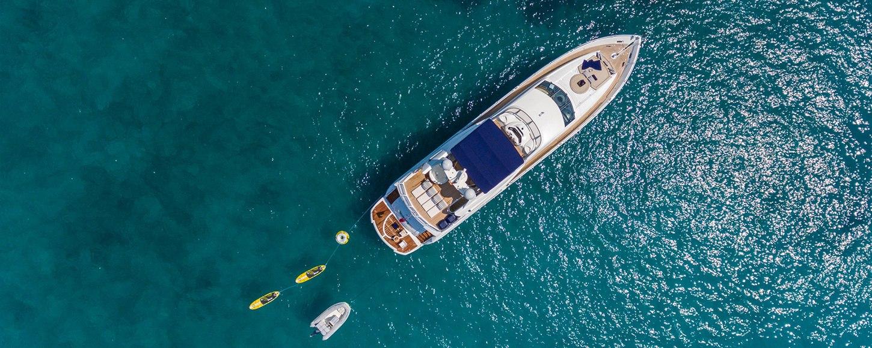 Aerial shot of luxury yacht Winning Streak 2