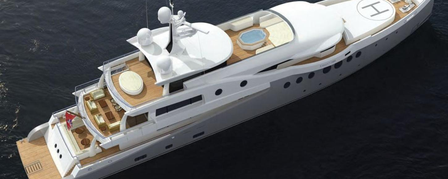 Aerial rendering of charter yacht Event