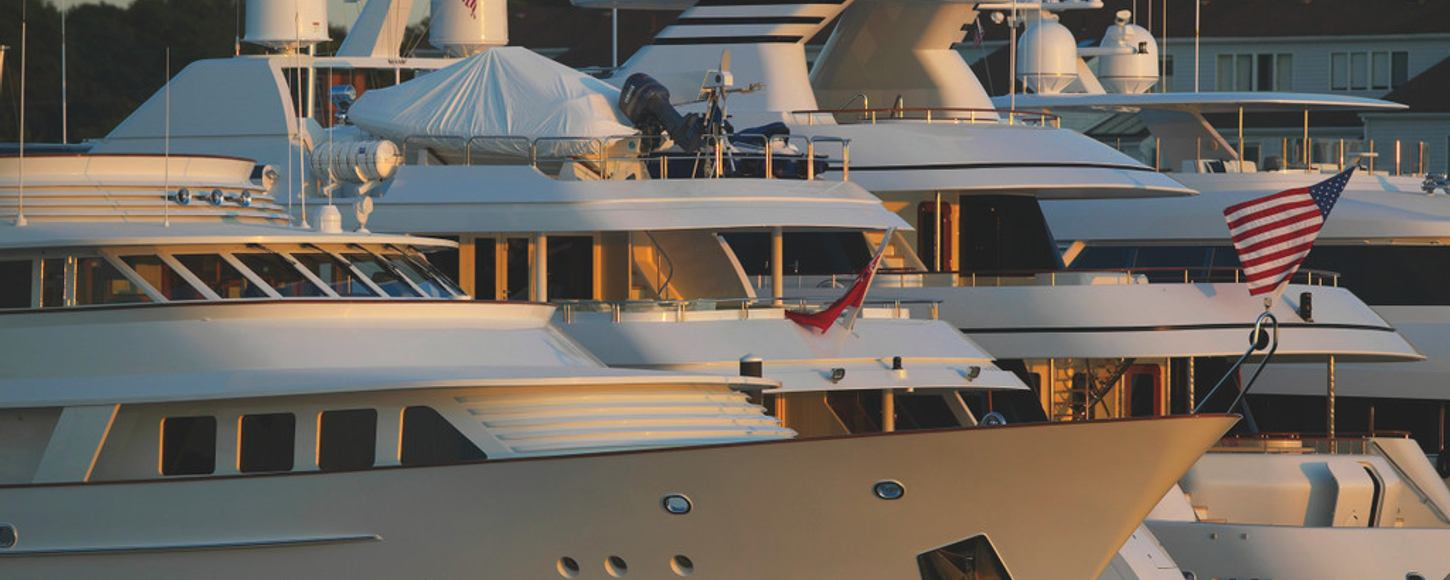 Charter yachts in Newport Harbour