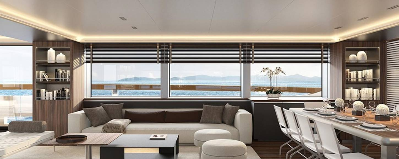 main salon of drifter world luxury charter yacht