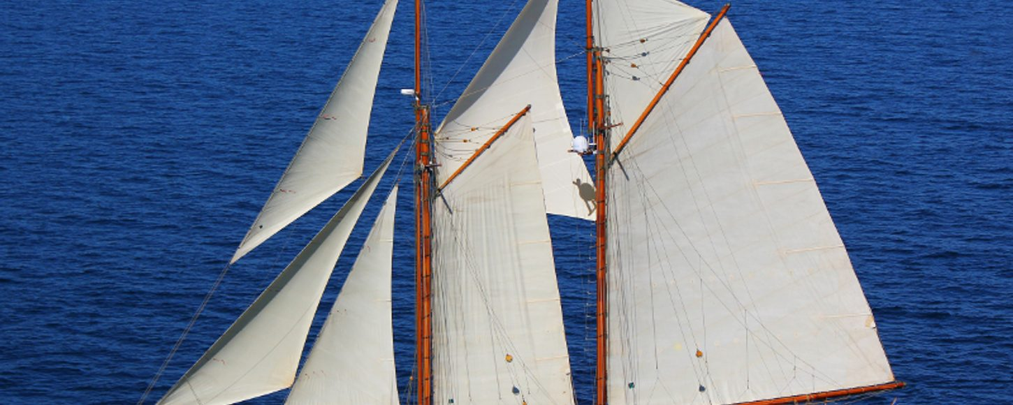 Charter yacht AELLO at full sail in the East Mediterranean