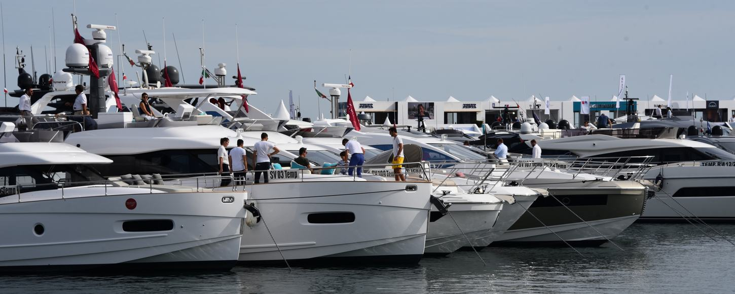 yachts in the harbour during cannes yachting festival
