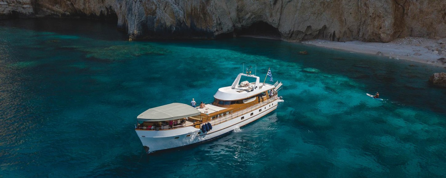 Luxury yacht AMANDA at anchor in Greece