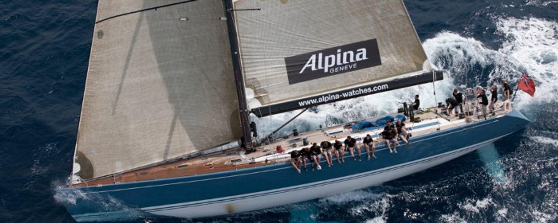 Charter yacht Alpina sailing in a regatta