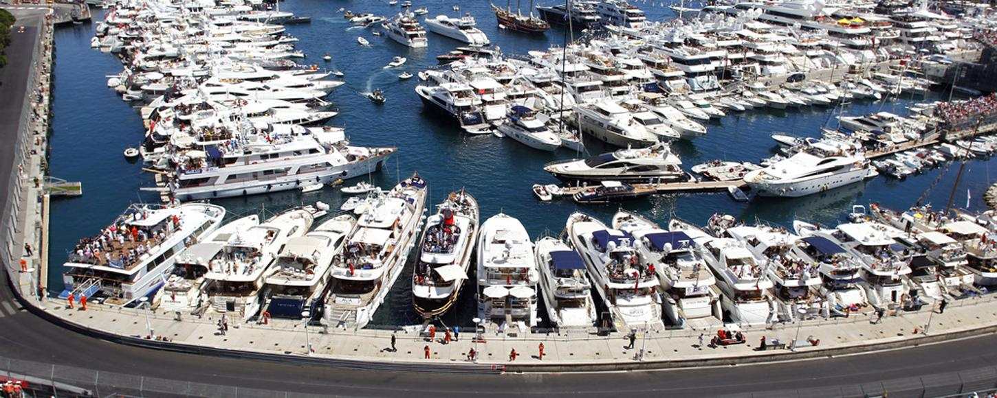 Charter yachts in Monaco harbour to view Grand Prix 2013