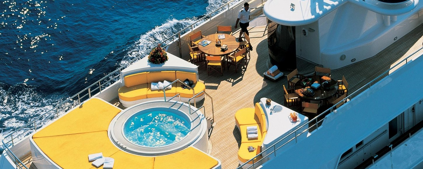 Aerial view of the sun deck no board charter yacht Passion