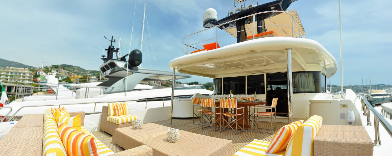 Sundeck on board luxury yacht CONQUISTADOR