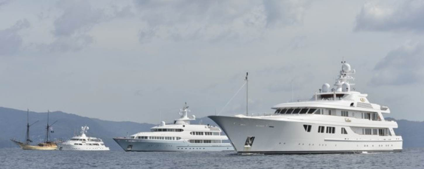 Yachts in the water at the Asia Superyacht Rendezvous