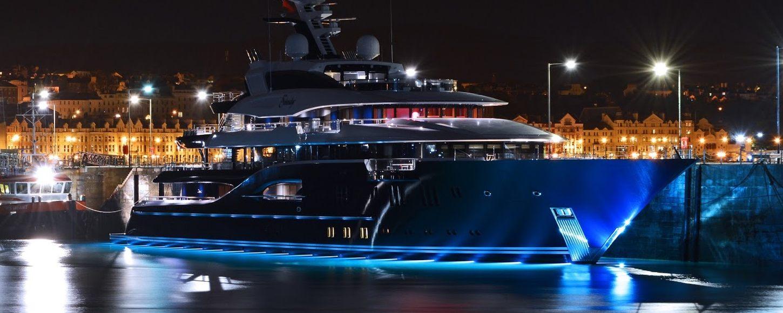 Solandge Superyacht with underwater lights at night