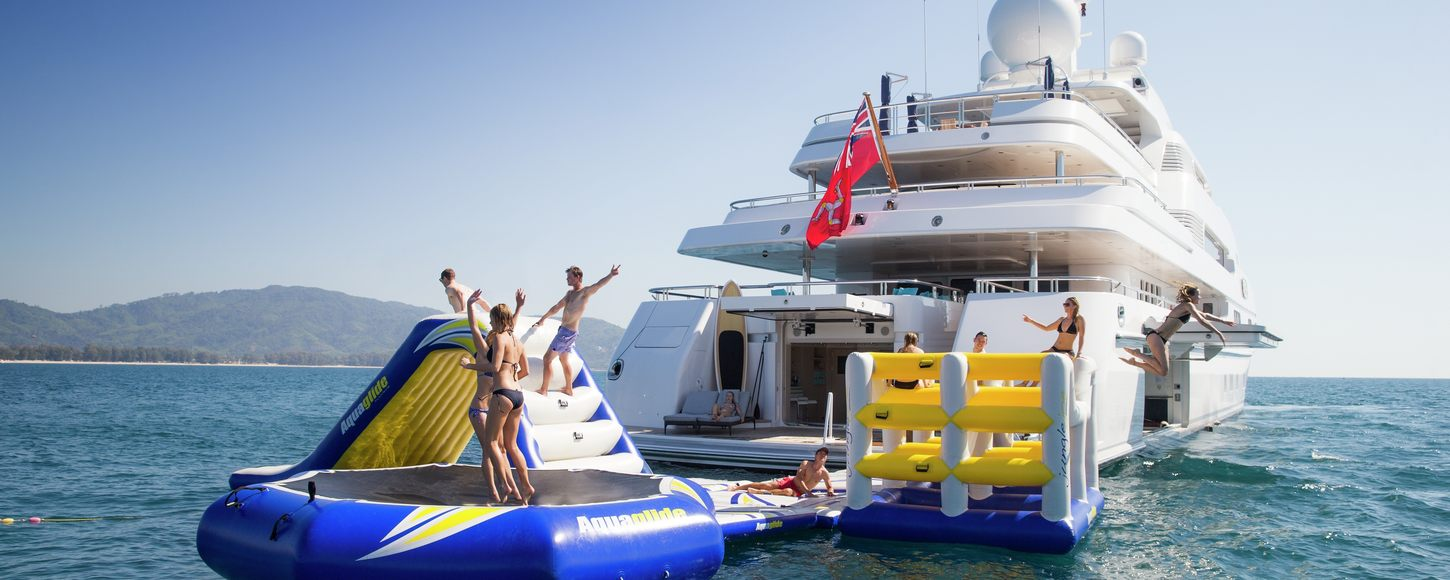 Inflatable toys and Lurssen superyacht TITANIA