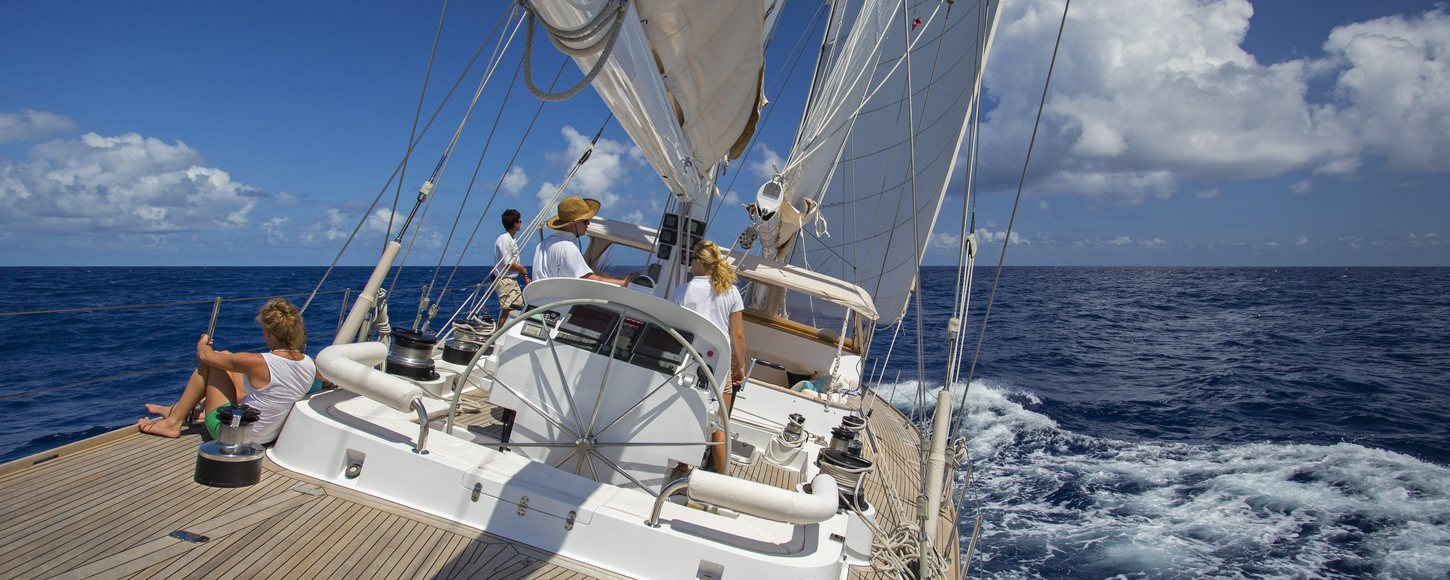 all hands on deck on board charter yacht JUPITER in the Caribbean